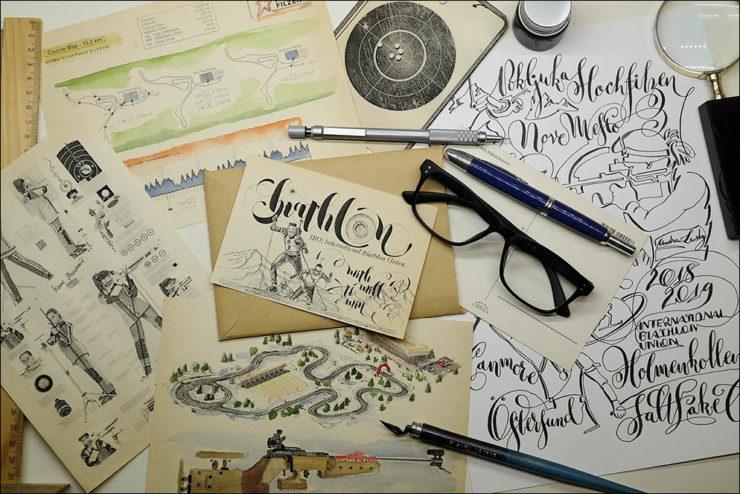 Biathlon TShirt SketChalligraphy