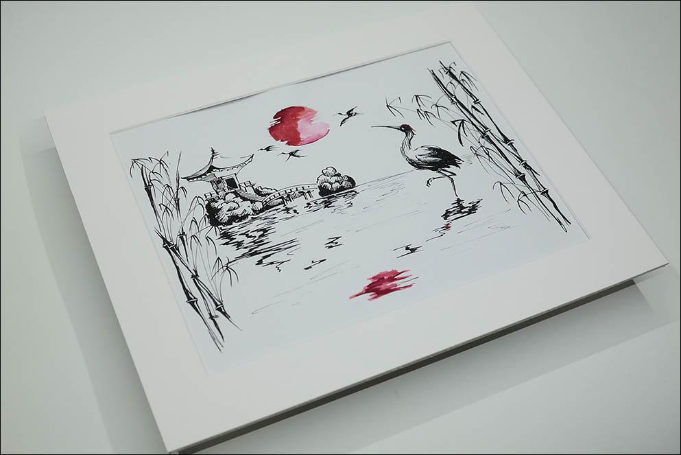 Japanese Crane on sunset. Daily Italic. Lenskiy.org