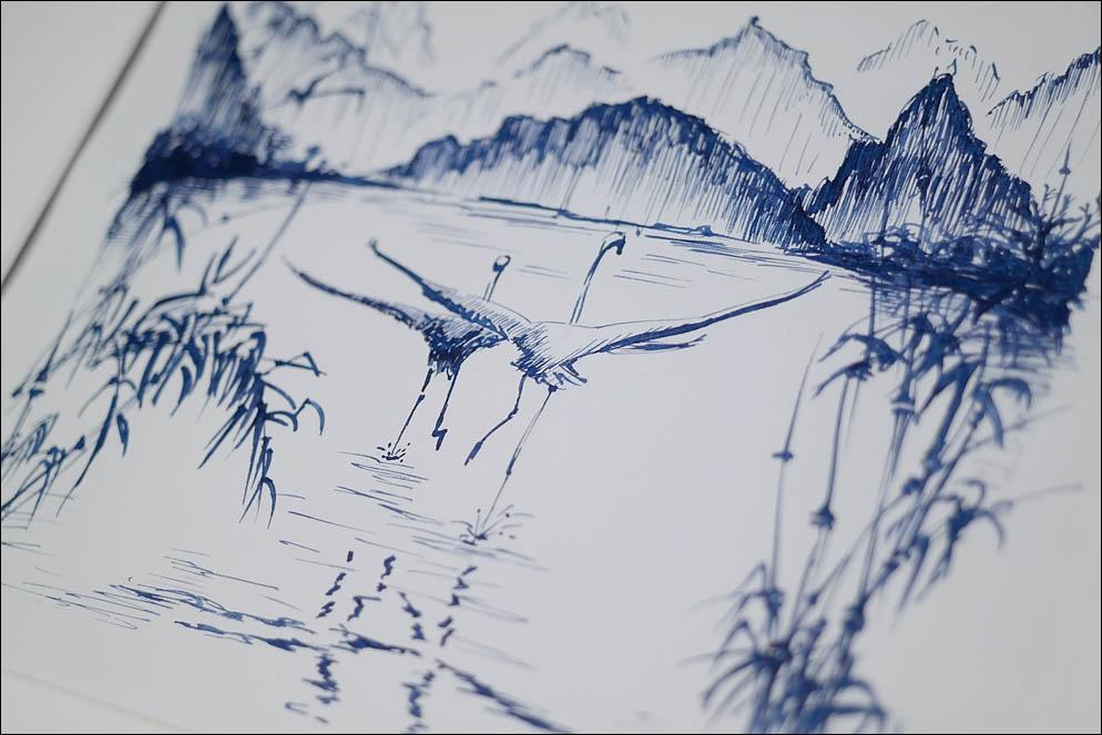 Landscape with crane in Japanese style. Lenskiy.org